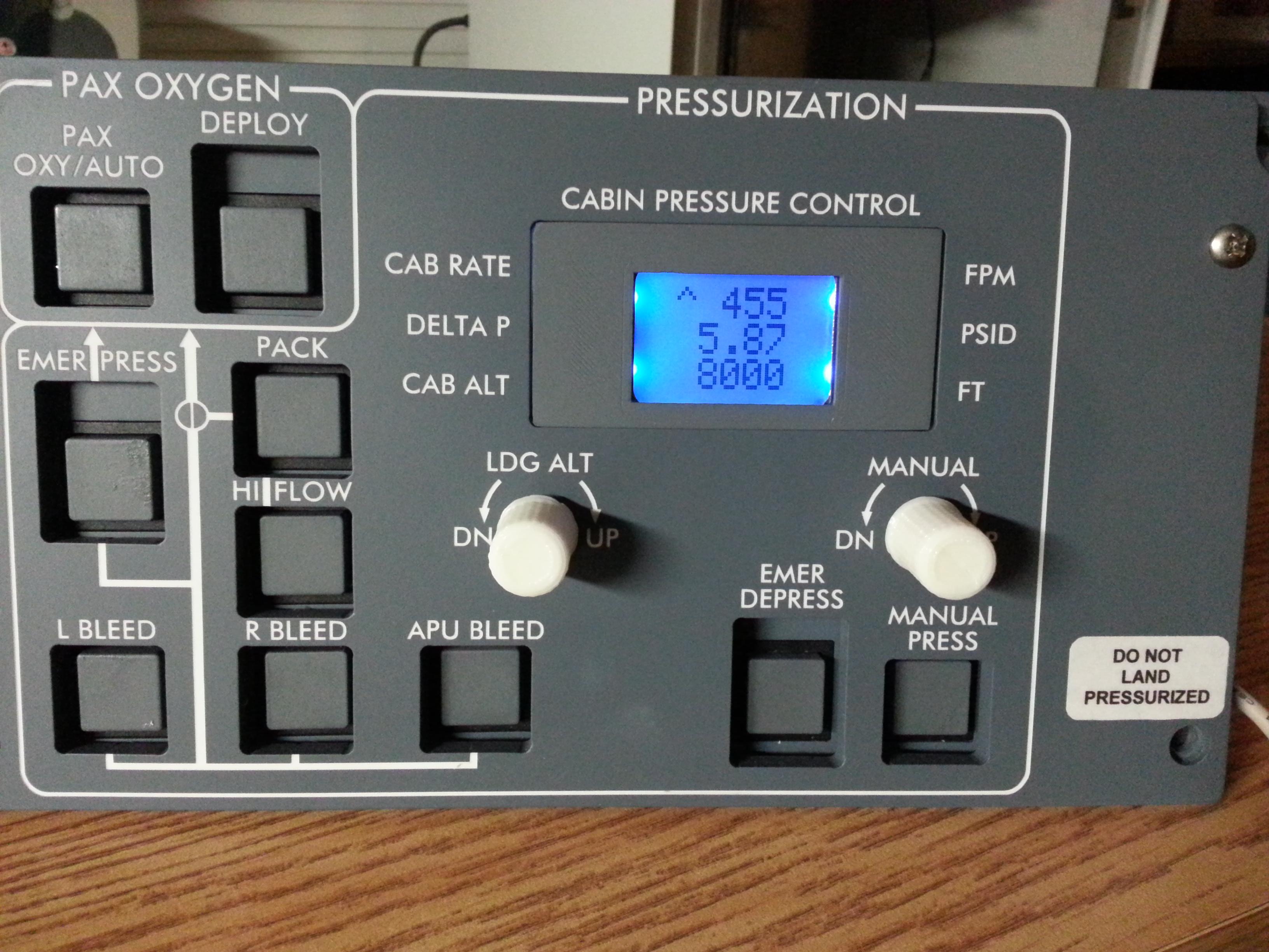 Arduino Cabin Pressure Panel
